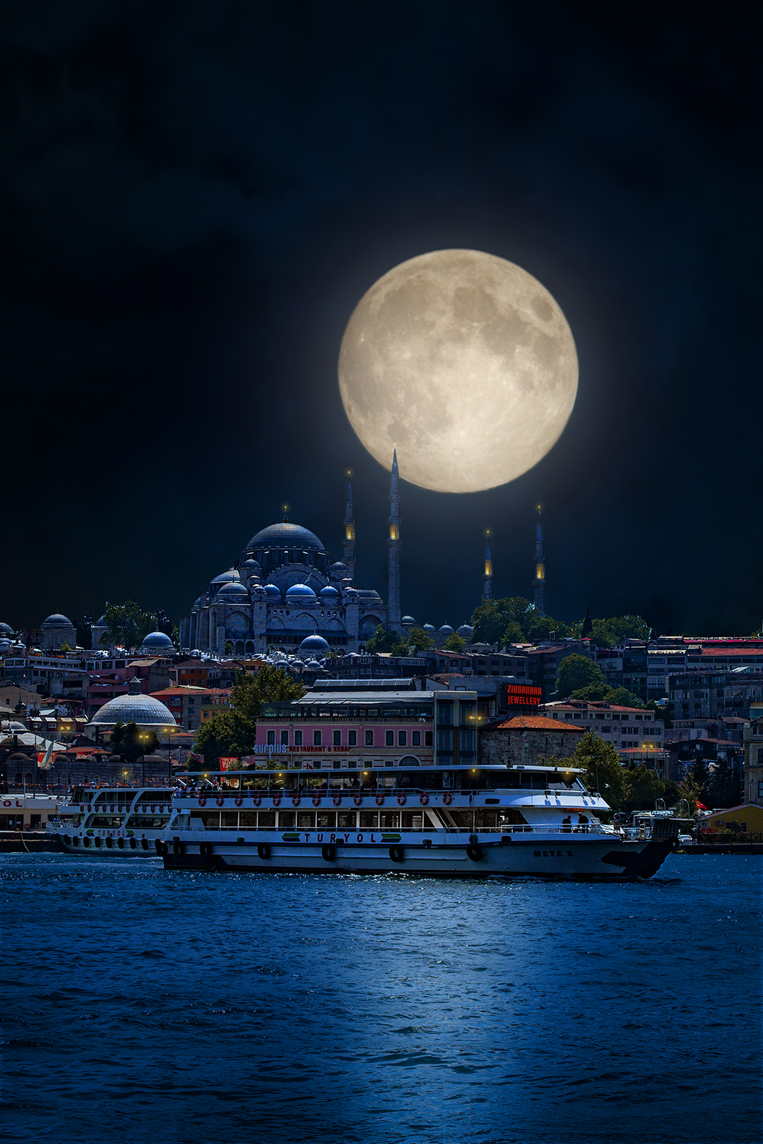 BLUE MOSQUE WITH THE MOON